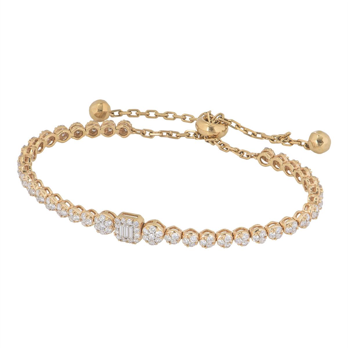 Rose Gold Illusion Set Diamond Line Bracelet